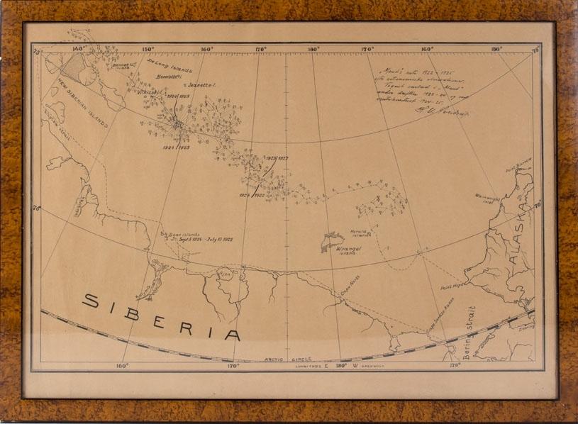 Kart som viser MAUD sine posisjoner i Nordishavet i 1922 - 1925.