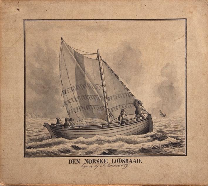 """Tegning av """"Den Norske Losbaad""""med full seilføring. Ser tilsammen fem av mannskapet ombord, hvor en står i baugen og speider etter skip."""