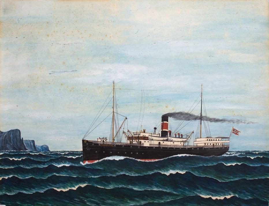 Skipsportrett av DS HAAKON JARL for full maskin utenfor kystlandskap. Fører splittflagg akter.