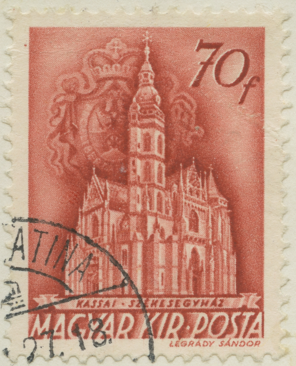 Frimärke ur Gösta Bodmans filatelistiska motivsamling, påbörjad 1950. Frimärke från Ungern, 1939. Motiv av domen i Kassa.