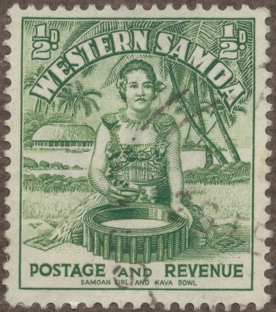 Frimärke ur Gösta Bodmans filatelistiska motivsamling, påbörjad 1950. Frimärke från Samoa, 1935. Motiv av Kava-kavaberedning på Samoa.