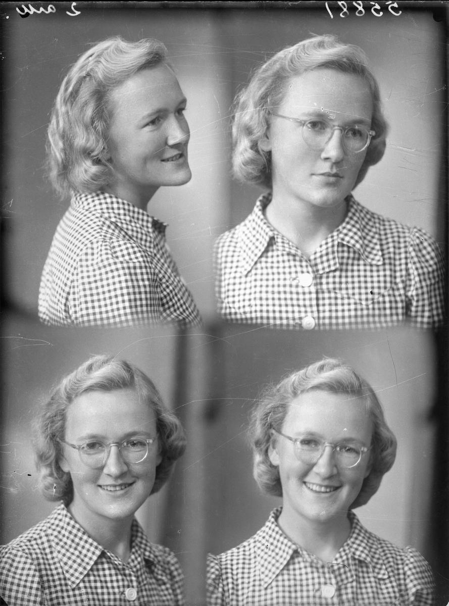 Portrett. Ung lyshåret kvinne med briller og lys smårutet kjole. Bestilt av Astri Sunnfør