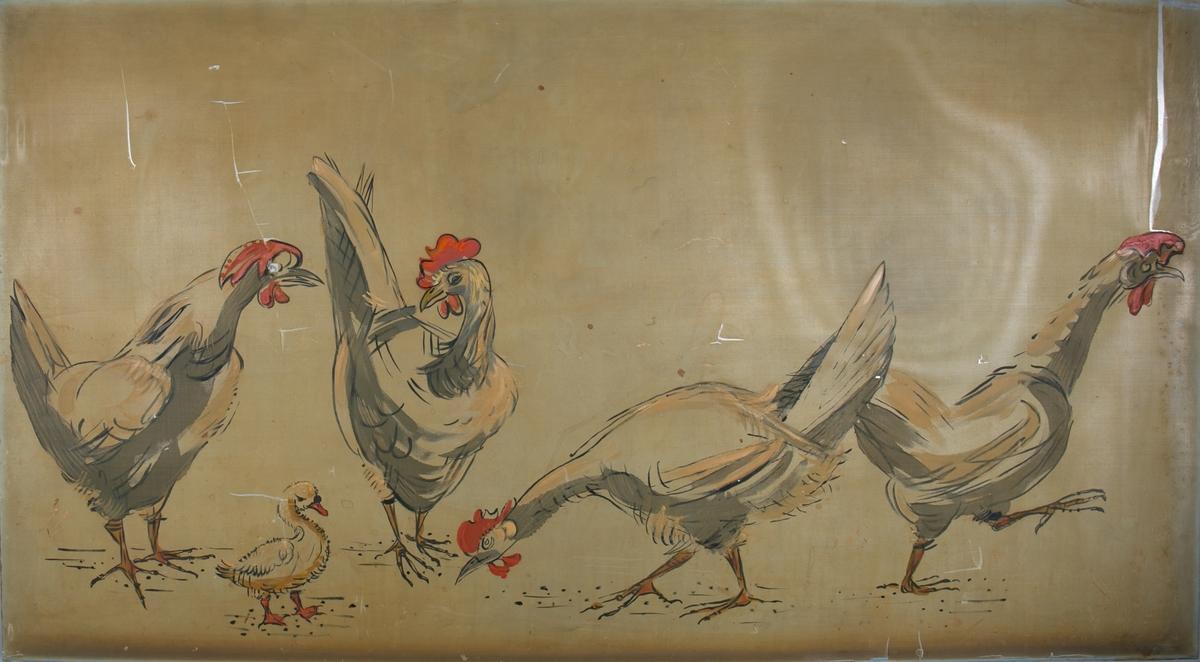 """Silkemaleri med motiv av """"Fire høner og en kylling"""". Har vært dekor på hurtigruteskipet LEDA tilhørende BDS."""