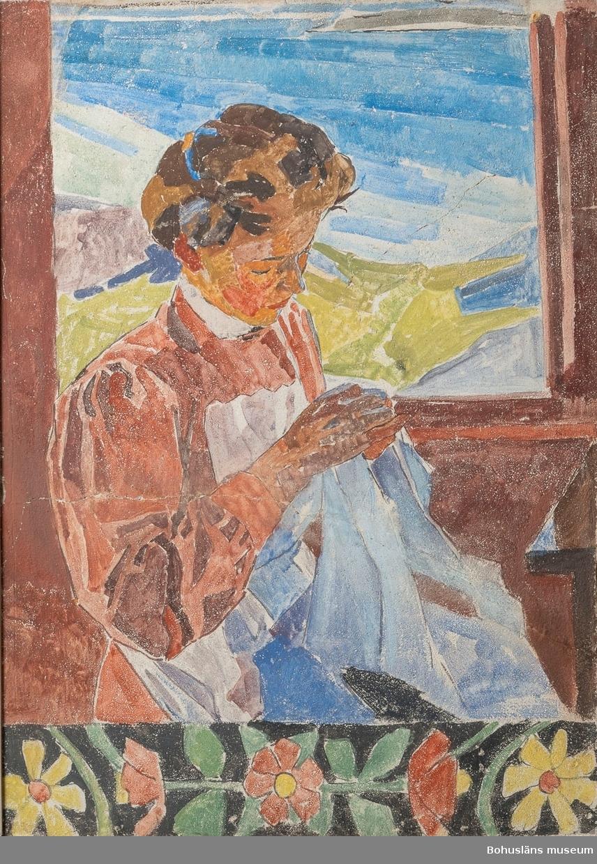 Handarbetande flicka med skärgårdslandskap i bakgrunden