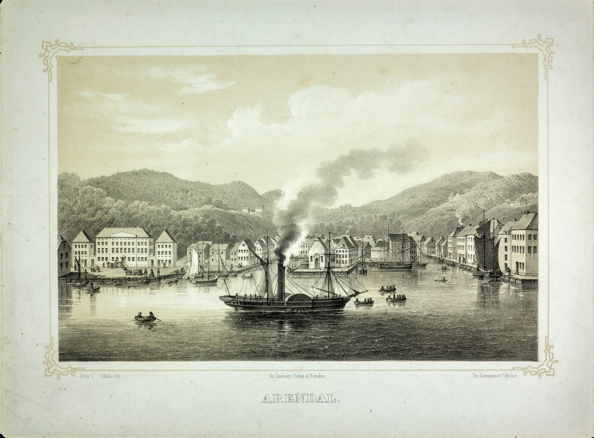 "Vi ser byen fra Kalleviggården t.v., eller Kallevigs pale, med paviljongen, til ytre ende av Langbryggen, med en hjuldamper - ""Prins Carl"" eller ""Constitutionen"" på fjorden."