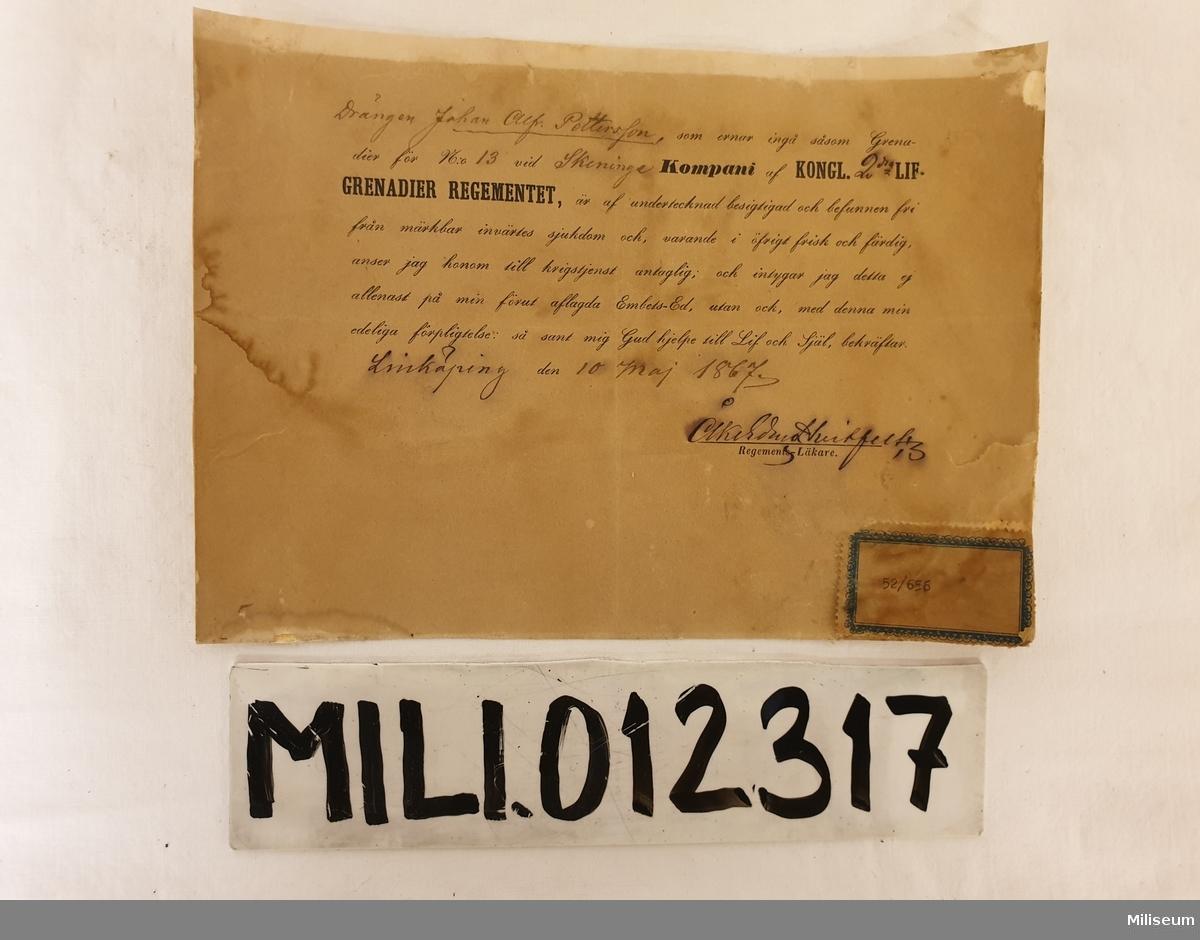 2 st soldatkontrakt, 1800-t. 1 st läkarbesiktningsprotokoll.