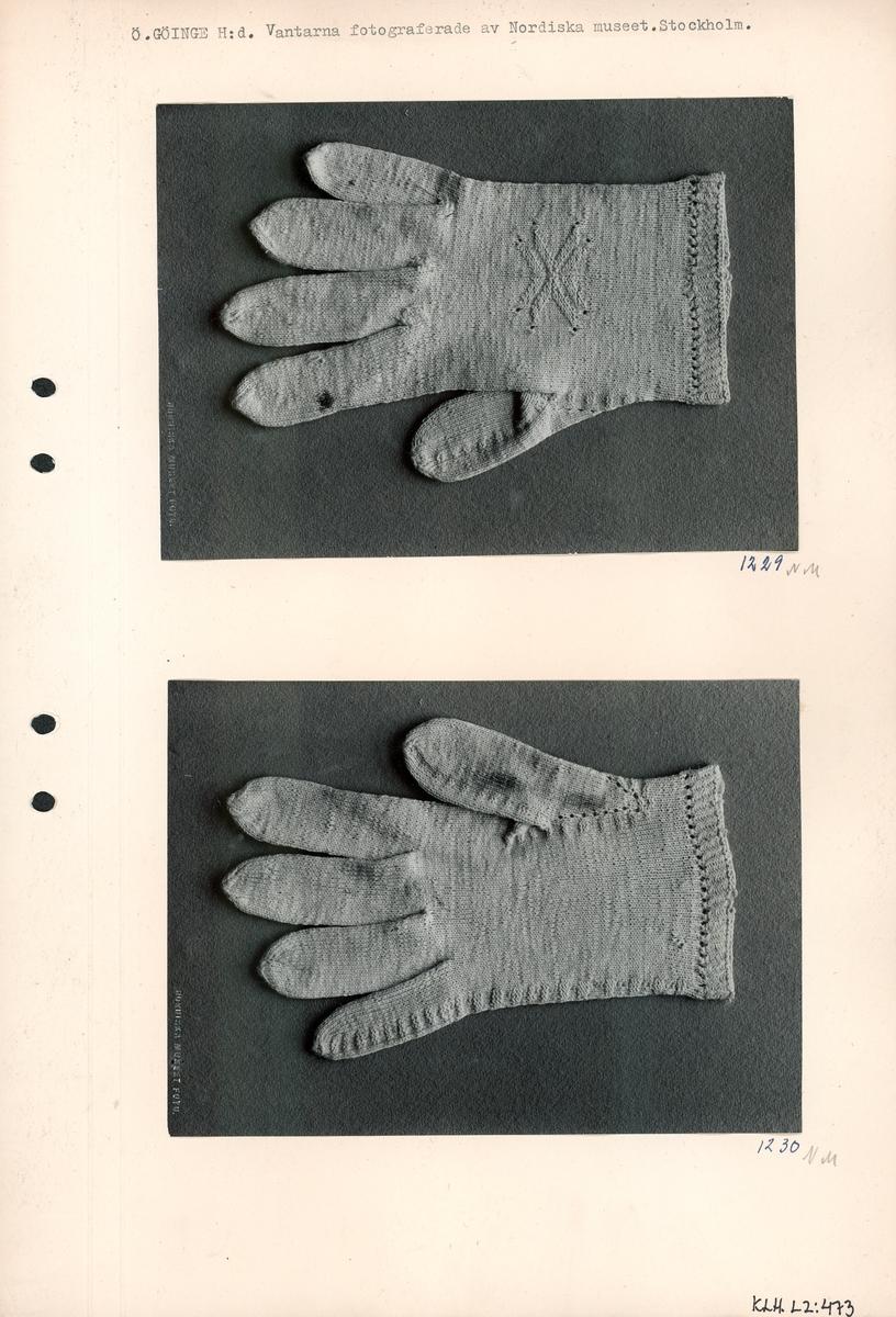 Kartongark med två foton av fingervantar.