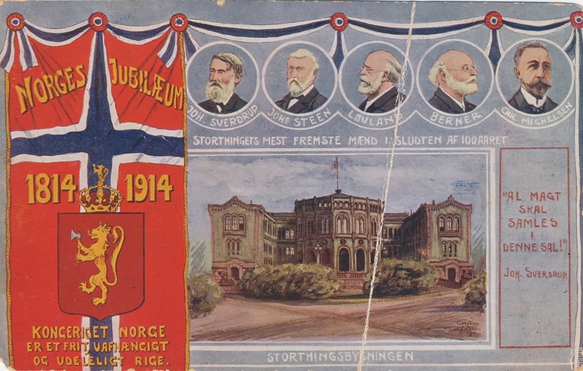 Poskortmotiv fra Norges hundreårsjubileum med Stortingsbygningen og portretter av fem embetsmenn