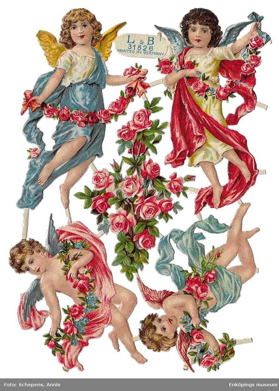 Ett bokmärke från tyska förlaget och tryckeriet Littauer & Boysen, även kallat L&B.  L&B grundades av Arnold Littauer och Franz George Boysen. Förlaget var verksamt mellan åren 1887–1921. L&B sålde halva sin kollektion av tryckplåtar till Z&M 1920, då L&B började avveckla sitt företag. Detta bokmärke kommer från karta L&B 31826. Konstnär/ tecknare: okänd. Motiv: ängel med blommor. (Bild nummer två visar karta L&B 31826 som bokmärkena kommer ifrån. Kartan är ett privat foto lånat av Annie Schepens, Nederländerna)