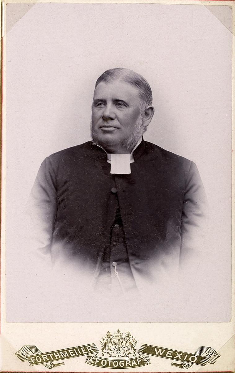 Foto av en man i prästrock och prästkrage m.m. Knäbild, halvprofil. Ateljéfoto.