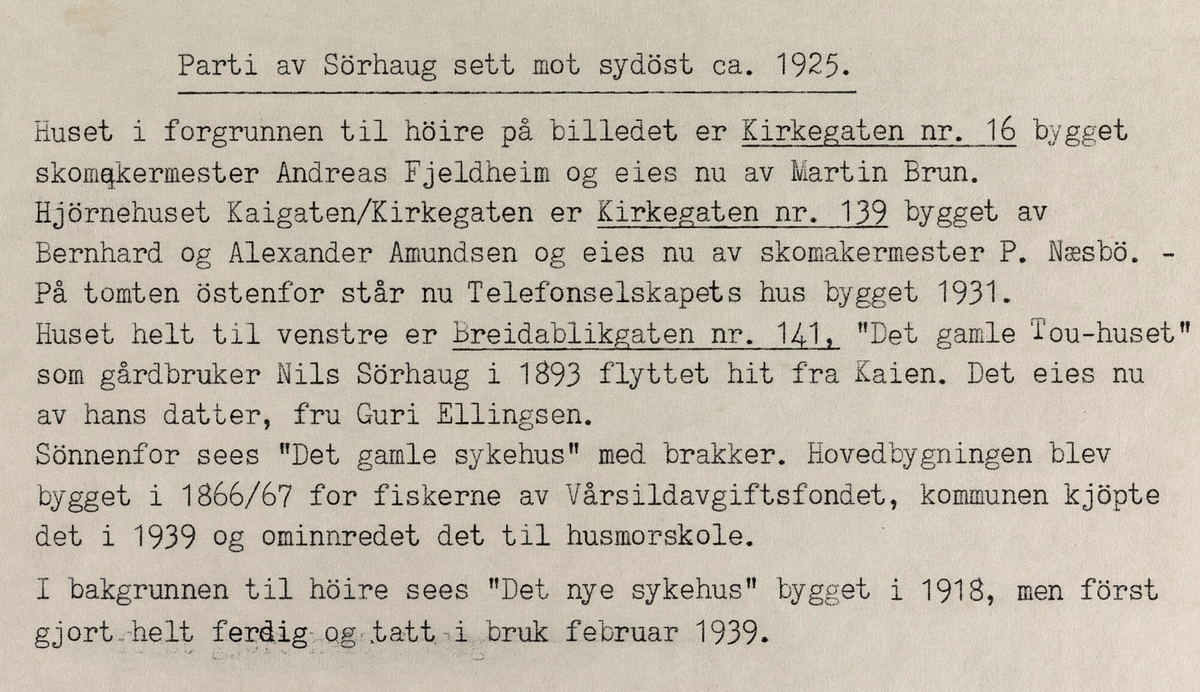 Parti av Sørhaug sett mot sydøst, ca. 1925.