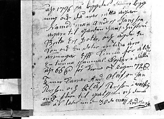 Kroppåsbrev daterat 1796, Sevalla sn, Västerås.