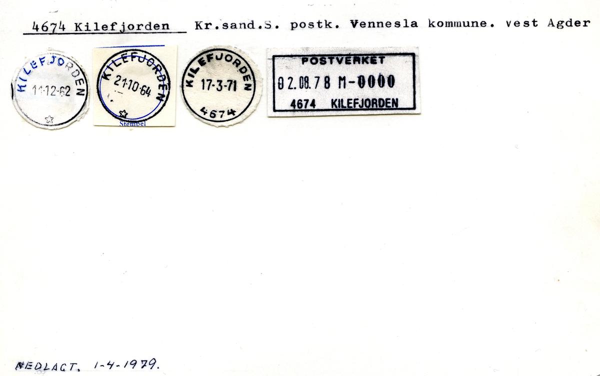Stempelkatalog 4674 Kilefjorden, Kr.sand postk., Vennesla kommune, Vest-Agder