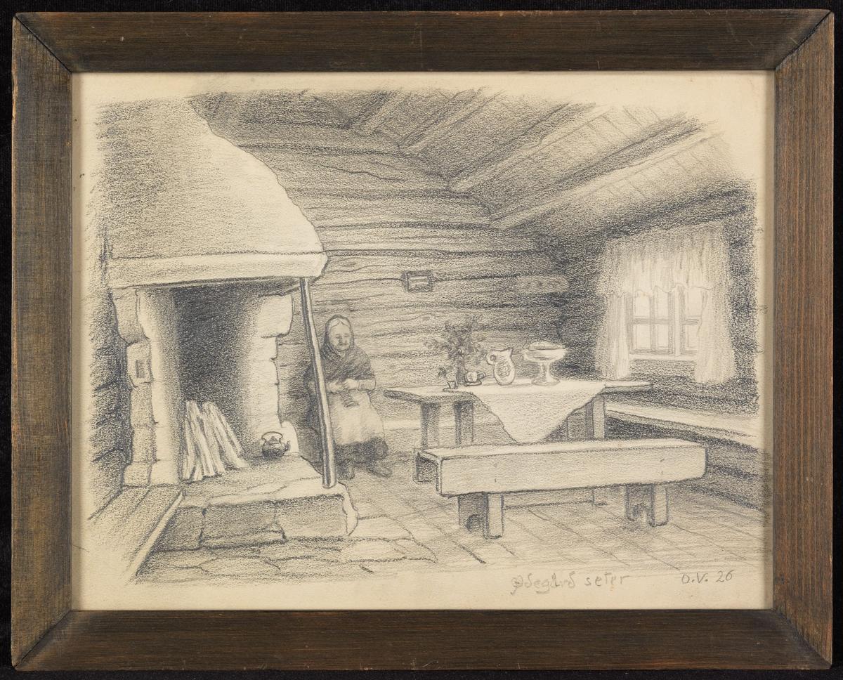 Interiør, tømmerstue m. peis, åpent røste, bord, benker, strikkende kvinner.