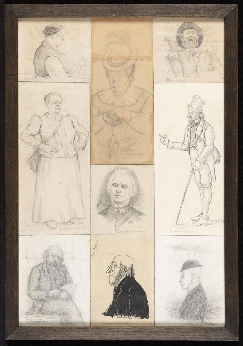 """Portretter og karikaturer; ned.f.v. mann, sittende, litt venstrev., knestk. lukkede øyne, skr.""""Trætt mann, Otto Valstad 30"""";  mann, karikatur, venstreprof., tusj, skr.""""Lars Holgersen, Otto Valstad-99, En gammel skolemester"""";  mann, karikatur, venstreprof., m.skalk, skr.""""Otto V.97, Theologen"""";  2 rekke f.v.: Kvinne, stående, hoftefest, skr.""""O.V.1903, Gjordemoderen"""";  mann, stående, knebukser & flosshatt, skr. """"O.V.37, En gammeldags klokker"""";  øv.f.v.: kvinne, tykk, halvfig., høyreprof. skr.""""Torvkjerring, Otto V. 1908"""";  kvinne, tykk, sittende halvfig., m. paraply og hatt, skr. """"Otto V. 1909, Fru Oldsen, Ferdinands moder"""";  mann, brystb., frontal, lenet bakover, åpen munn, skr.""""Dagen derpå, O.V.189?"""";  mann, brystb., lyst hår, skr.""""Otto Valstad 1901, Skredder Gundersen"""""""