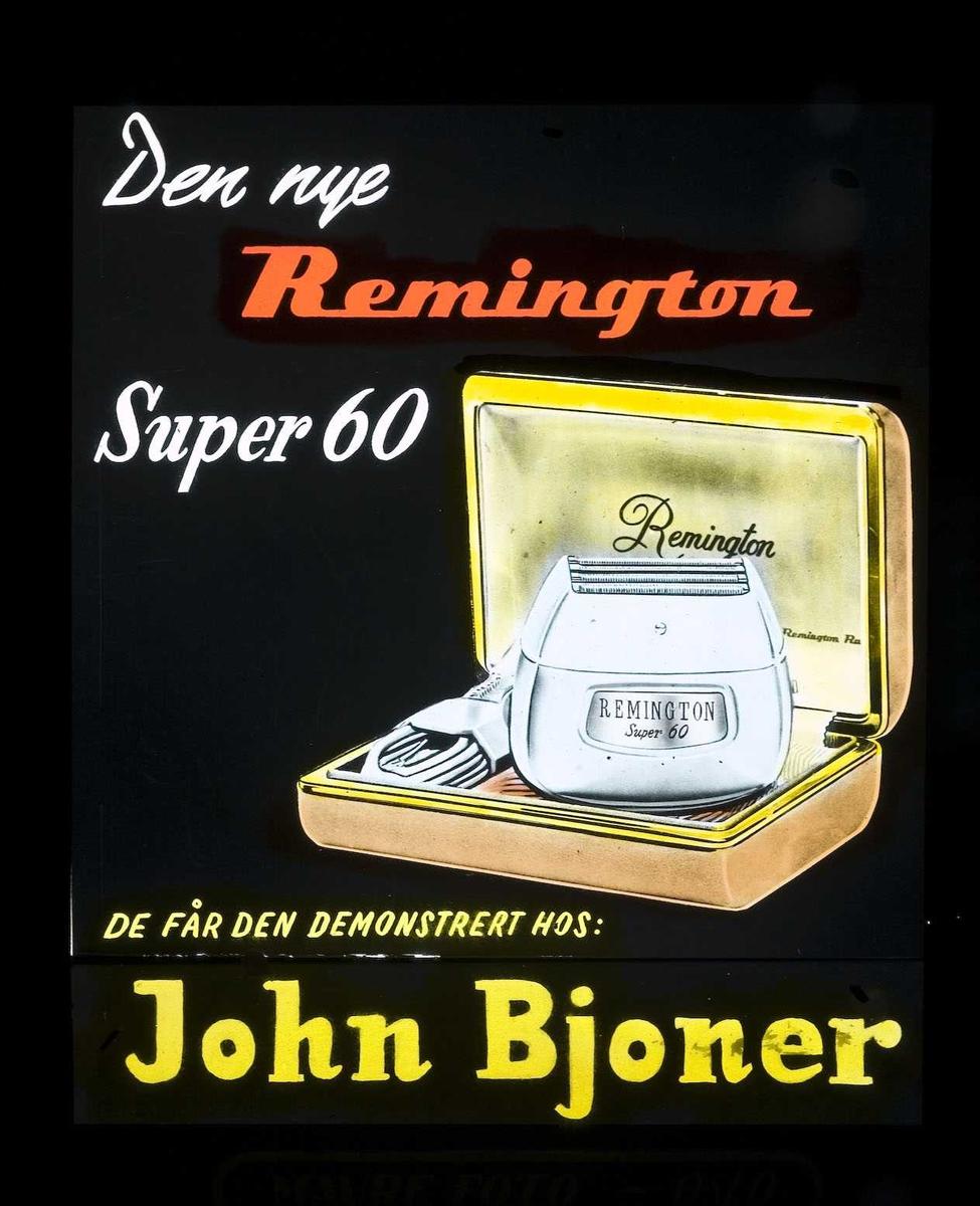 Kinoreklame fra Ski. Den nye Remington Super 60. Få den demonstrert hos John Bjoner