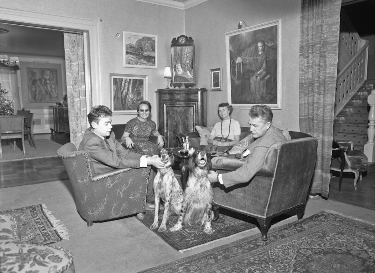 Mennesker og hunder i en stue.