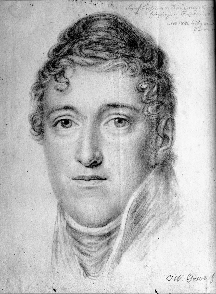 Avfotografert maleri eller tegning. Prins Christian av Danmark anno 1840. Kunstner: J W Greve.