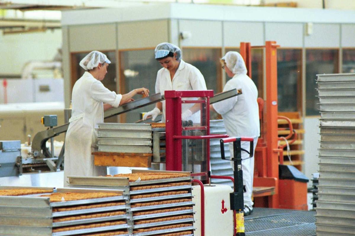 Arbeidere, arbeidstøy, kvinner, fabrikkmiljø, arbeidsmiljø, mann, kjeks, maskiner
