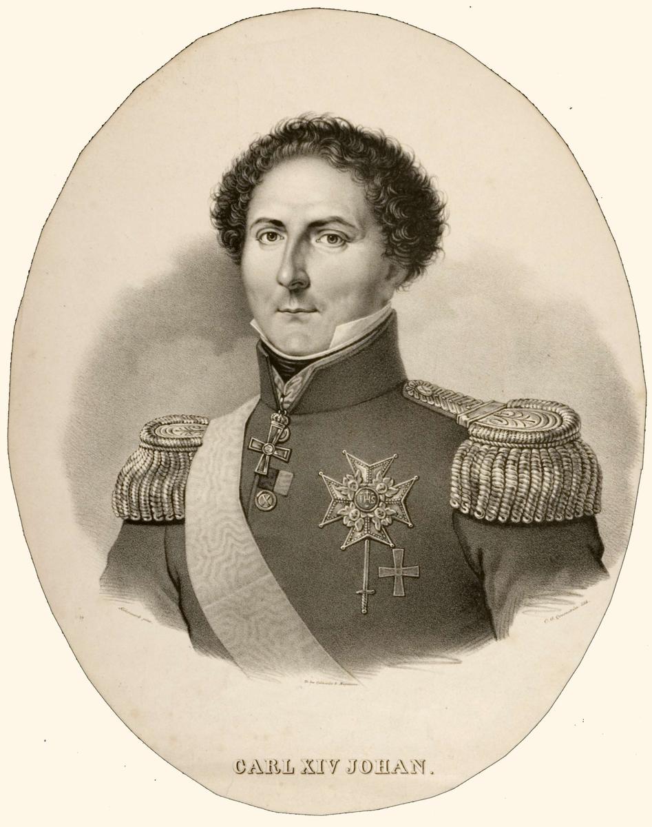 Portrett, brystbilde av Karl XIV Johan i uniform med ordensbånd og ordener.