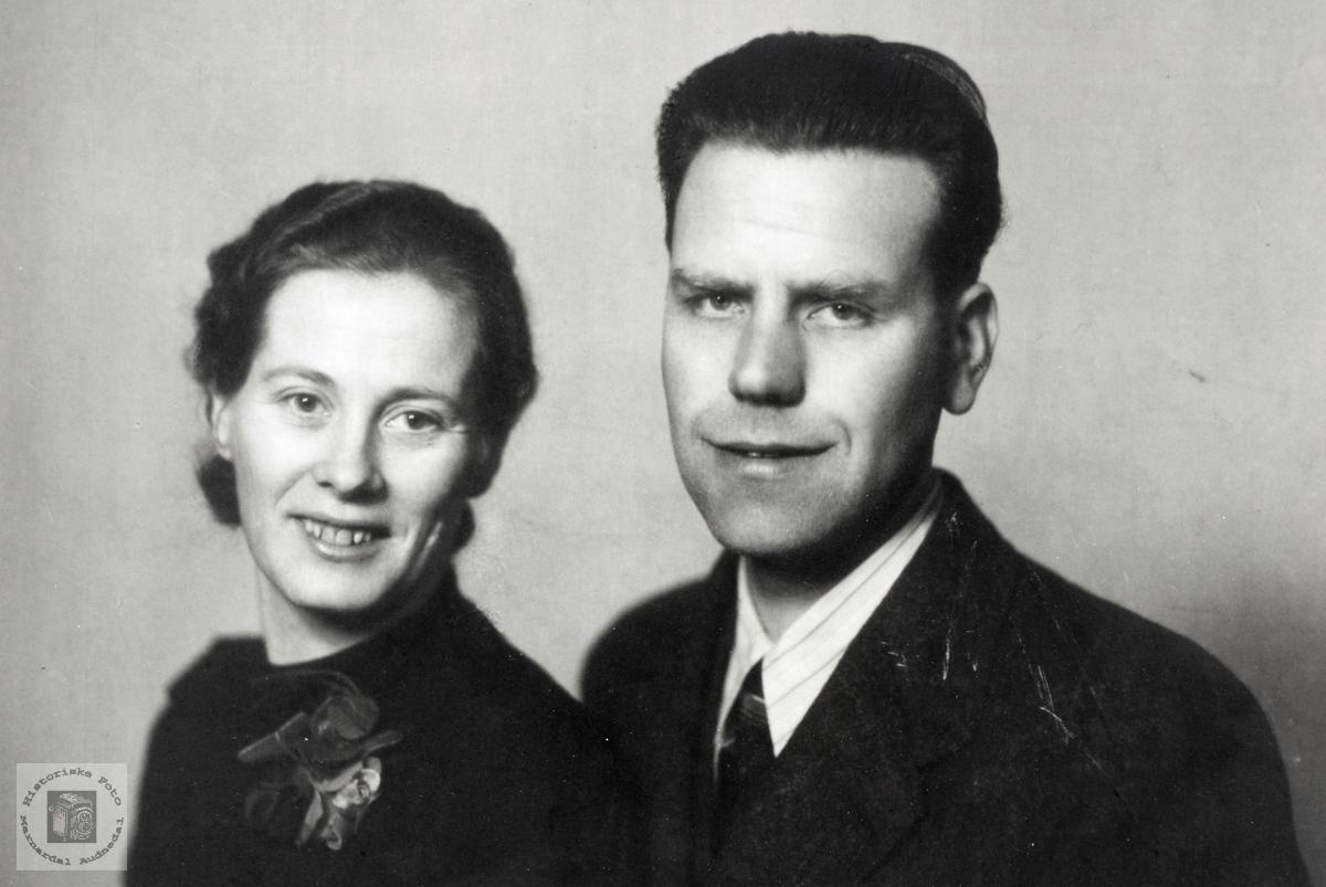 Portrett av ekteparet Anna og Arne Sigvard Håland. Grindheim Audnedal.