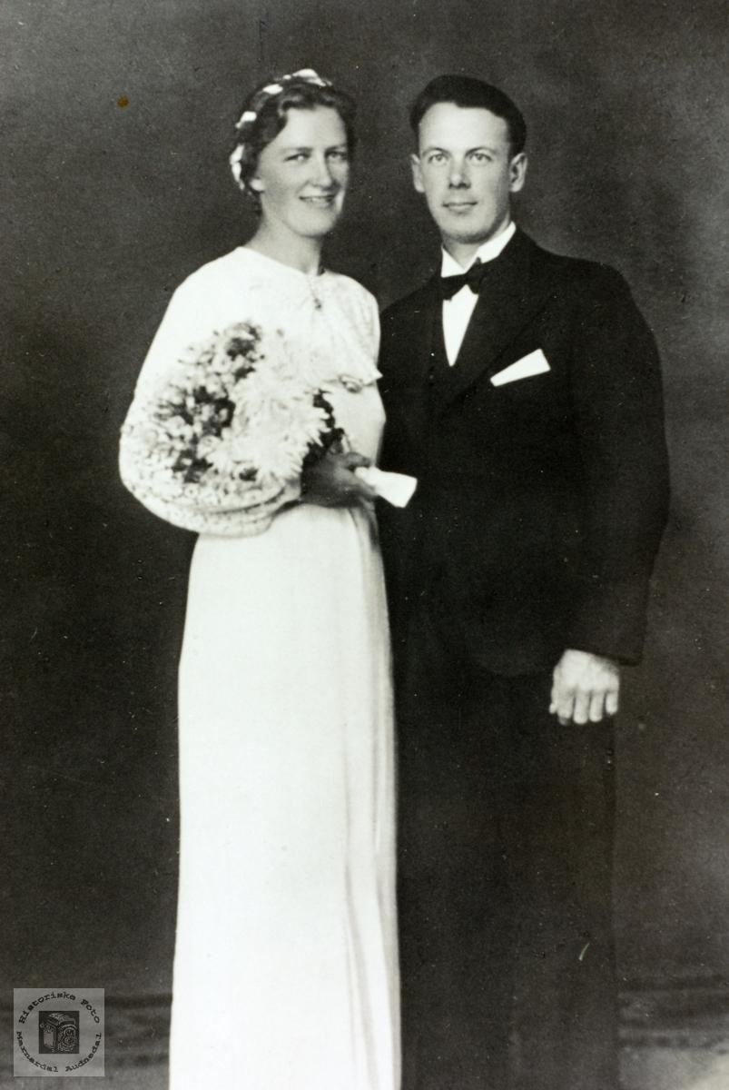Brudebilde av Anna og Rorjus Førland. Grindheim Audnedal.