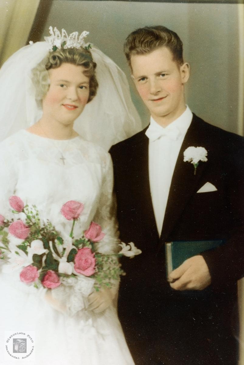 Brudebilde av Turid og John Arnfinn Førland. Grindheim Audnedal Mandal.