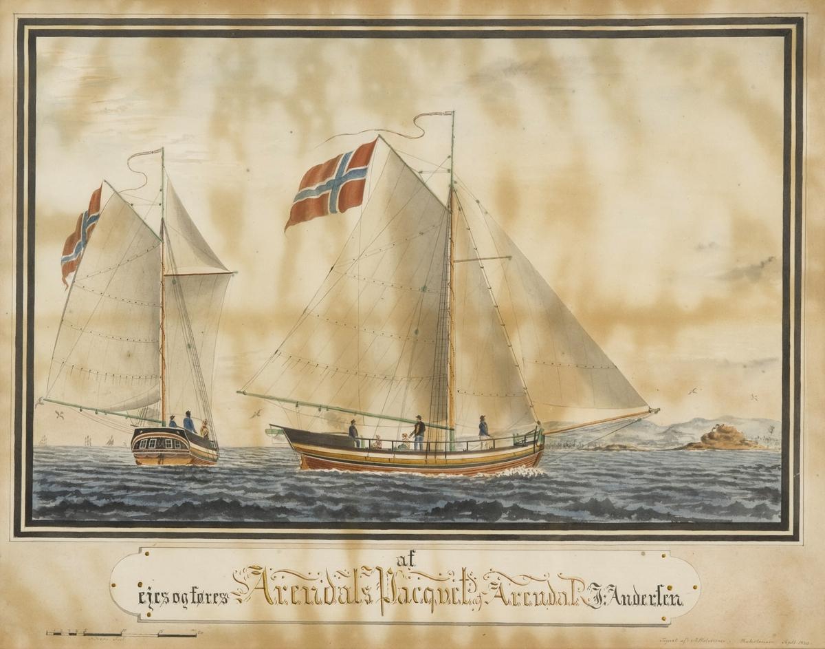 Jakt 'Arendals Paquet' av Arendal. Rent norsk flagg