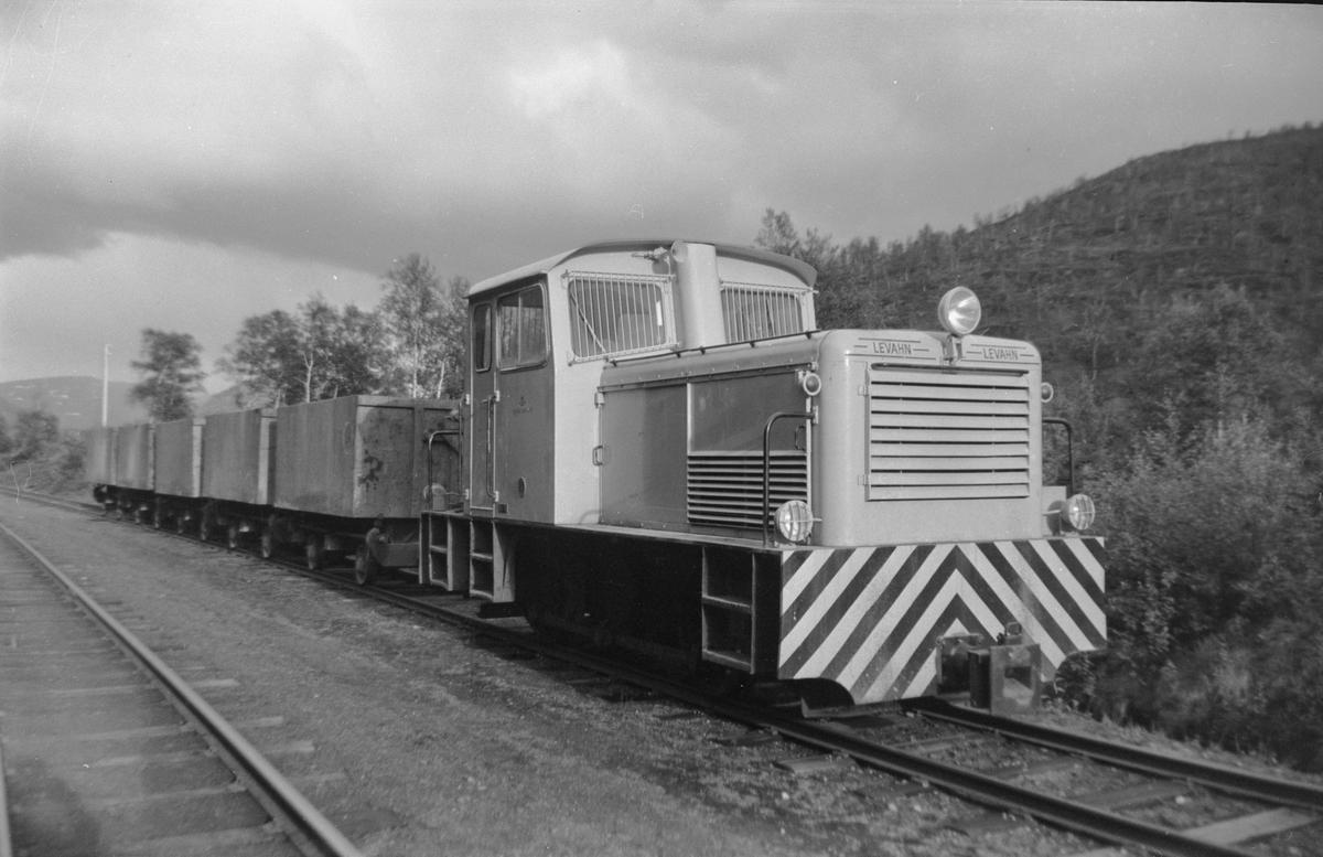 Sulitjelmabanens Levahn-lokomotiv med arbeidstog.