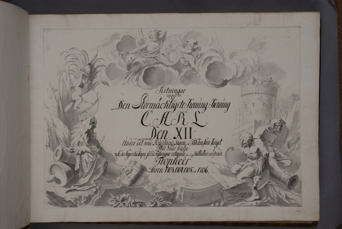 Inledning och register till bokverk med avbildningar föreställande eldrör tagna som troféer av den svenska armén åren 1703-1706, utförda av syskonen Anna Maria och Philip Jakob Thelott.
