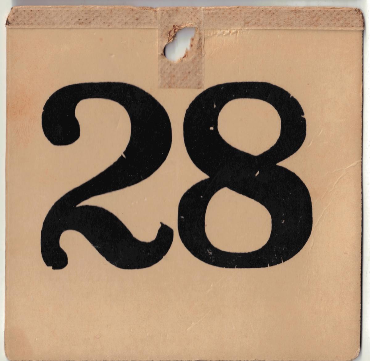 28 kvadratiske nummerlapper i tykk papp med trykte nummer fra 1 til 30 i sort. Nummer 4 og 18 mangler. Hver lapp har et hull så lappen kan festes på tiltaltes bryst. Flere av de tiltalte har skriblet med blyant på nummerlappene.