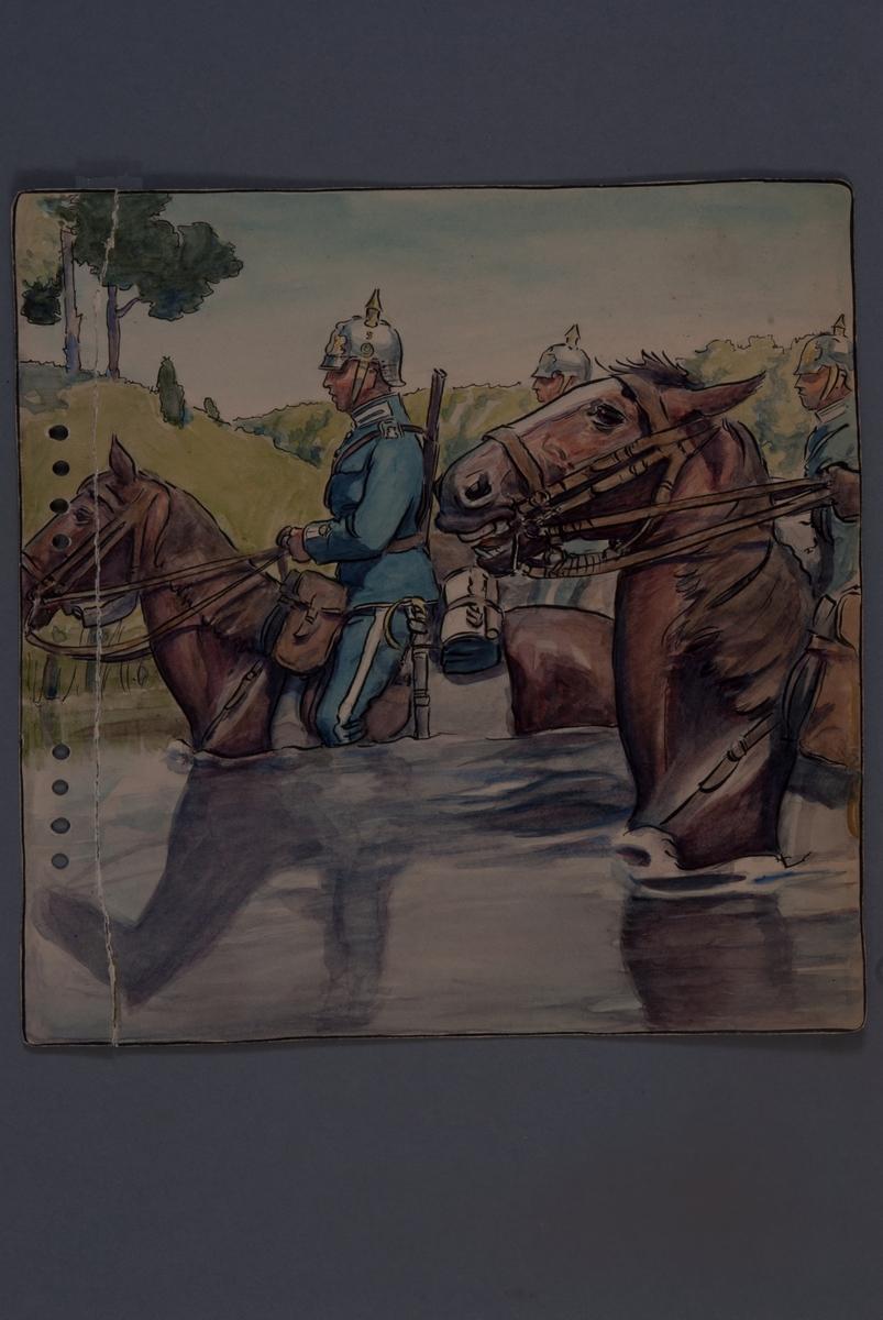 Plansch med uniform för Livgardet till häst, ritad av Einar von Strokrich. Soldat till häst vadar i vattendrag.