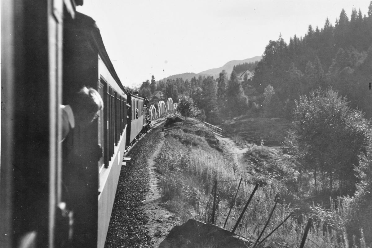 Utsikt fra bakerste vogn i A/L Hølandsbanens veterantog underveis fra Krøderen til Drammen