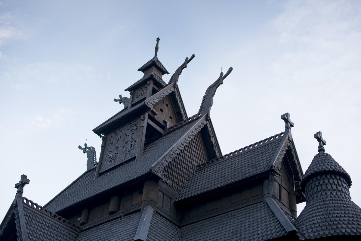 Roof and ornaments of Stave Church from Gol