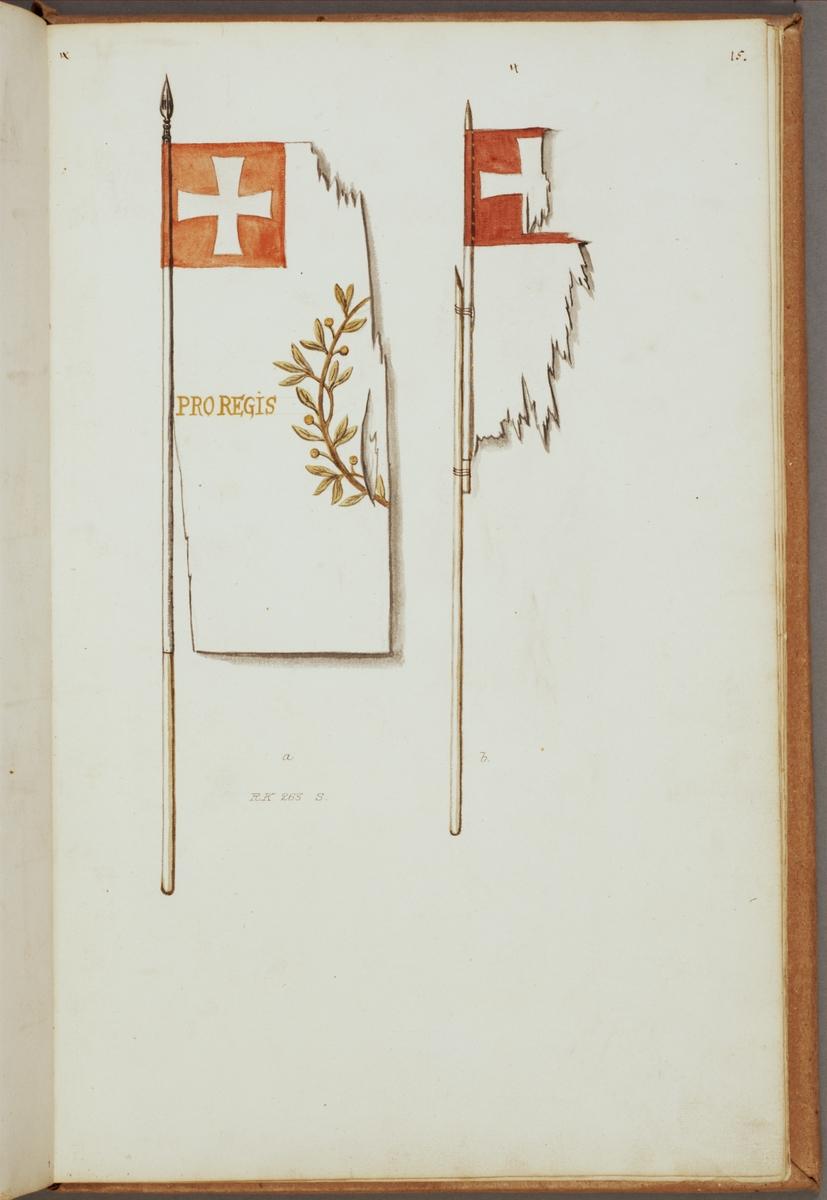 Avbildning i gouache föreställande fälttecken taget som trofé av svenska armén. En av de avbildade fanorna finns delvis bevarad i Armémuseums samling, för mer information, se relaterade objekt.