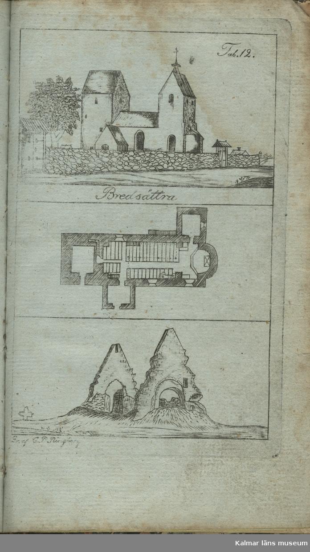 KLM 45891:3 Bokillustration. Plansch föreställande Bredsättra kyrka.