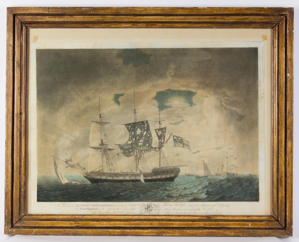 HMS GLATTON med sønderskutte seil og mannskap på dekk. Flere skip fra den franske flåten til høyre i motivet.