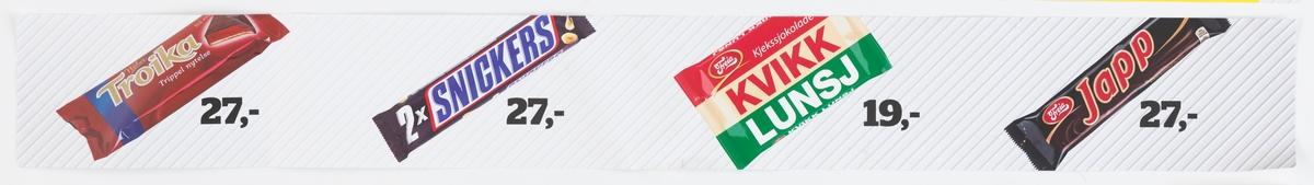 Fotografi av 4 ulike sjokoladebarer. Fra venstre: Nidar Troika, Snickers, Freia Kvikk Lunsj, Freia Japp