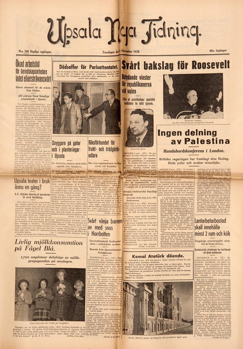 Dagstidningen Upsala Nya Tidnings förstasida den 10 november 1938
