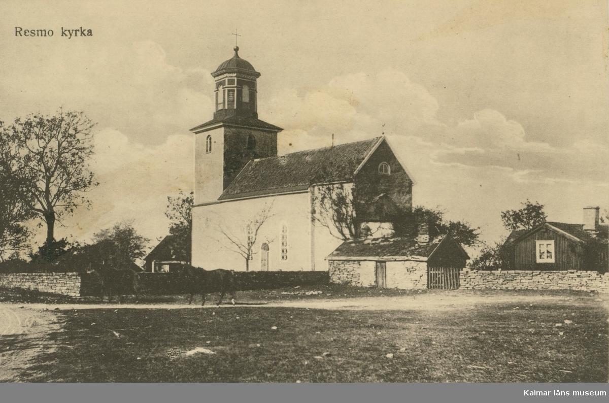 Vykort med motiv från Resmo kyrka.