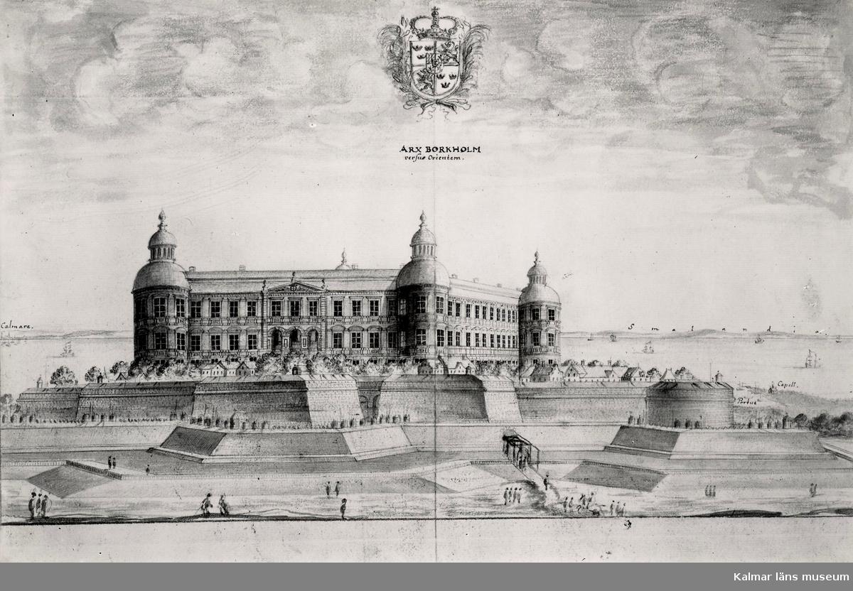 Borgholms slottsruin. Orginalteckning från Suecia Antiqua.