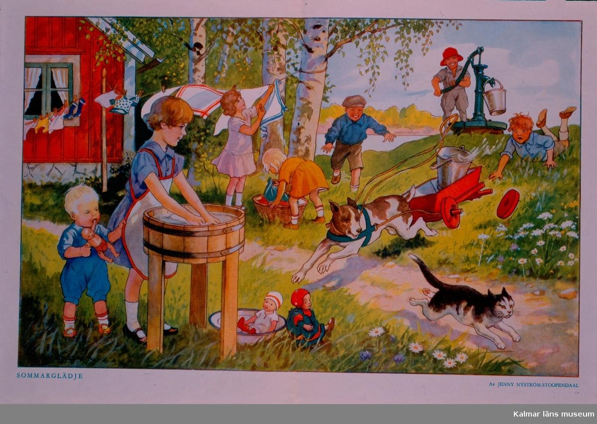 Vykort illustrerat av Jenny Nyström.