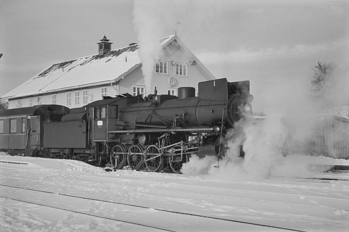 Dagtoget fra Trondheim til Oslo Ø, tog 302, på Røros stasjon. Toget trekkes av damplokomotiv type 26a nr. 216.