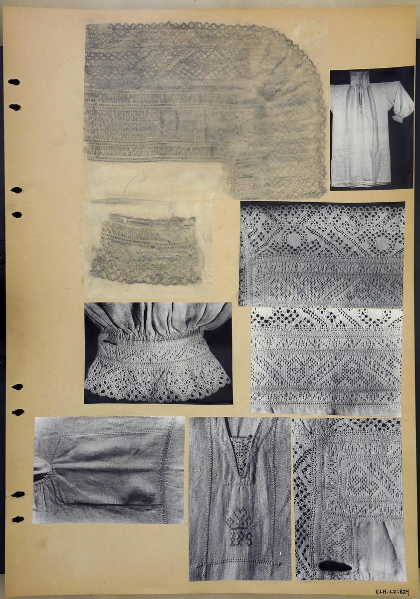 Kartongark två frottage och sju fotografier av särk