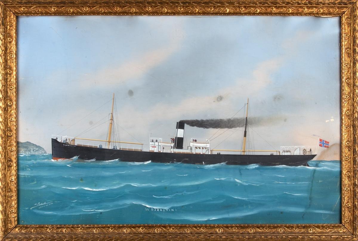 Skipsportrett av DS BJØRGVIN under fart utenfor en havneby, muligens Genova. Fører rent norsk flagg akter.
