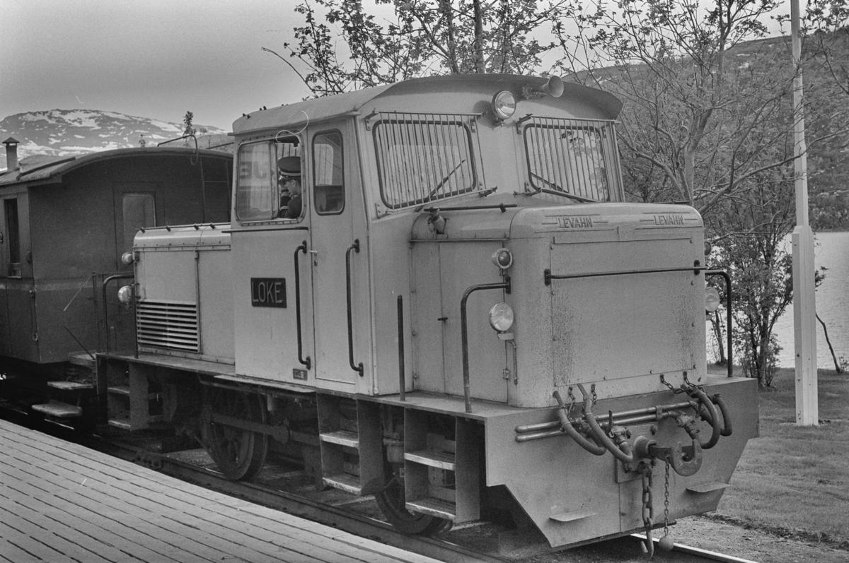 Persontog fra Lomi til Finneid på Sulitjelma stasjon på Sulitjelmabanen. Toget trekkes av diesellokomotivet LOKE.