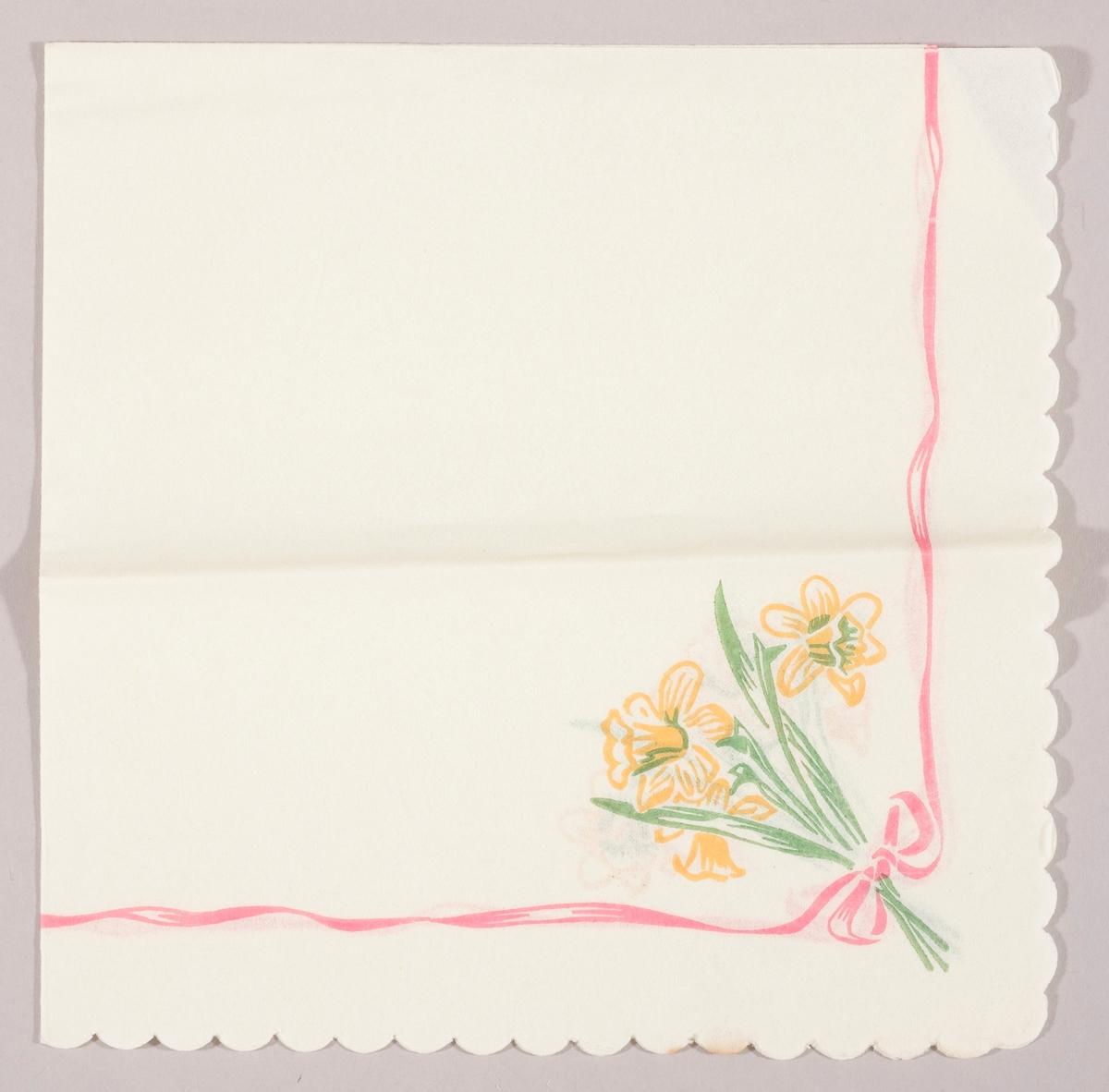 En bukett med påskeliljer bundet sammen med et rødt bånd med sløyfe.