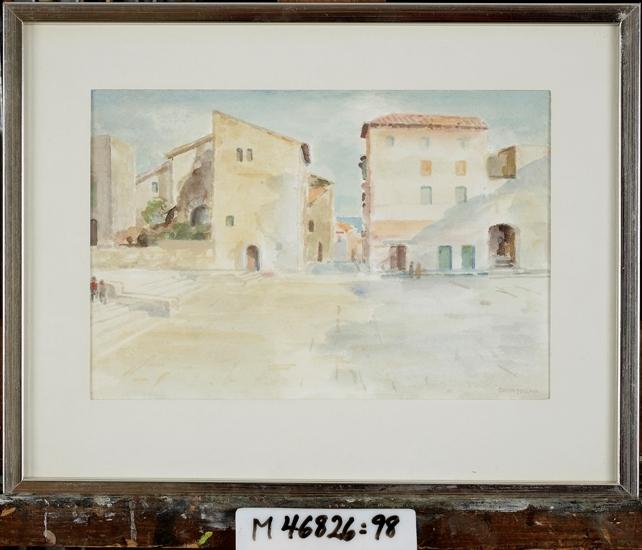 Akvarell på papper.  Sydländskt torg. Trappor till vänster.  Italien