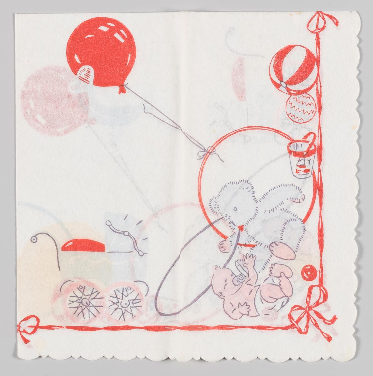 En baby med smokk og en bame omgitt av en barnevogn, leker og ballonger. Sløyfe og et langt rødt bånd langs kanten.