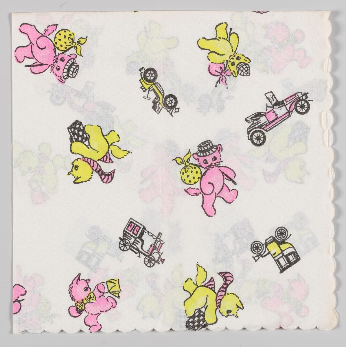 Gule og rosa katter med hatter, tøyknyter, vesker, halstørkler og sløyfer. Gule og rosa veteranbiler.